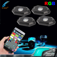 4 pod kits / 8 pods kits RGB led rock light bluetooth remote color changing by mobile phone app