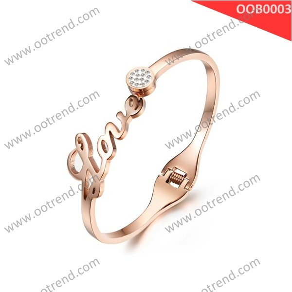 IP plated rose gold stainless steel bangle jewelry support customized size ,hot sales stainless steel jewelry