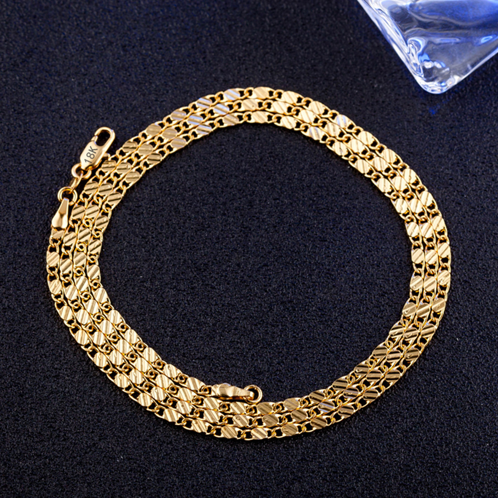 wholesale cheap Plating 18K men gold 2mm flat chain factory oem stamped 18kgf chain stock for 16 18 20 22 24 26 28 30 inch