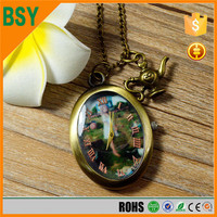 BoShiYa 6CoBlack Polish Retro Vintage Pendant Ball Clock Pocket Watch necklace Chain