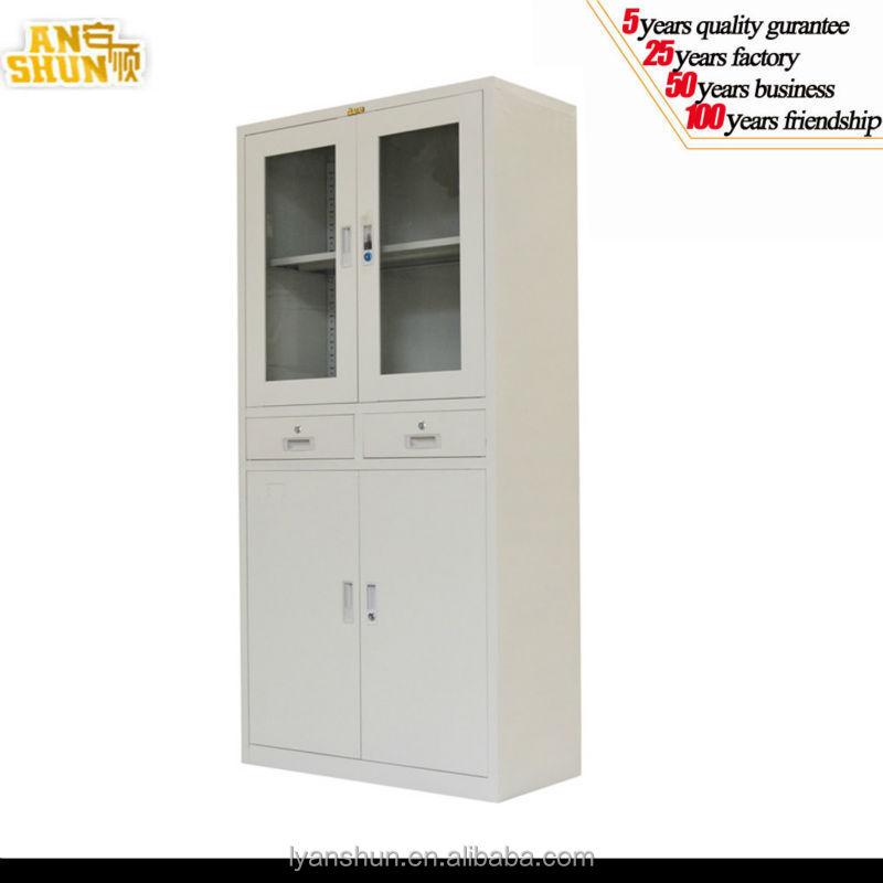 modern Glass swing door metal cole steel file display cabinet with two drawers and adjustable shelf