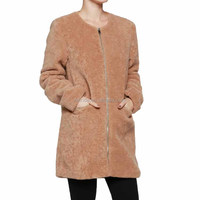 Custom Fall Clothing Apparel Online Black Khaki Blush Furry Long Line Zip Up Jacket With Pockets Plain Varsity Jacket Wholesale