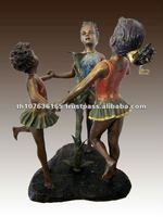 Bronze girls playing sculpture