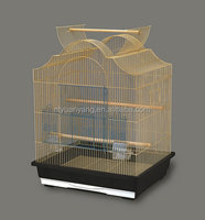 hanging golden wire bird cage with feeder and plastic tray top open
