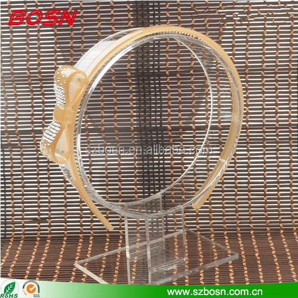 Factory direct sell clear head band hair accessories plexiglass tiara display rack