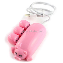 High Speed 2.0 Version Lovely Pig Spray Rubber Oil 3 port usb hub