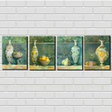 Modern Abstract Oil Painting 4 Panel Beautiful Vase and Fruits Still Life Paintings Giclee Prints Framed