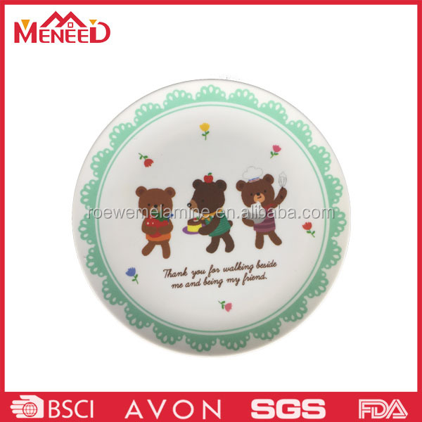 Budget quality white color with decale shallow round melamine plate , wholesale asian dinner plate