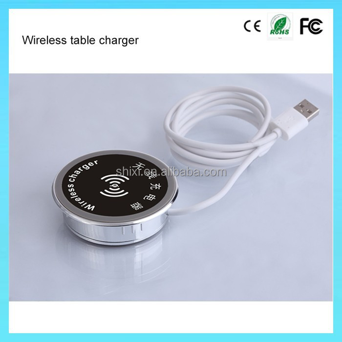 qi wireless desk charger for universal mobile phone, wireless charger for cafe bar restaurant