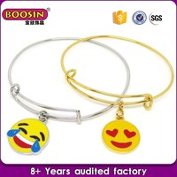 2016 Fashionable jewelry accessory emoji gold bangles models