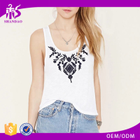 2016 guangzhou shandao oem service summer new design sleeveless fashion embroidered knitted girls tops