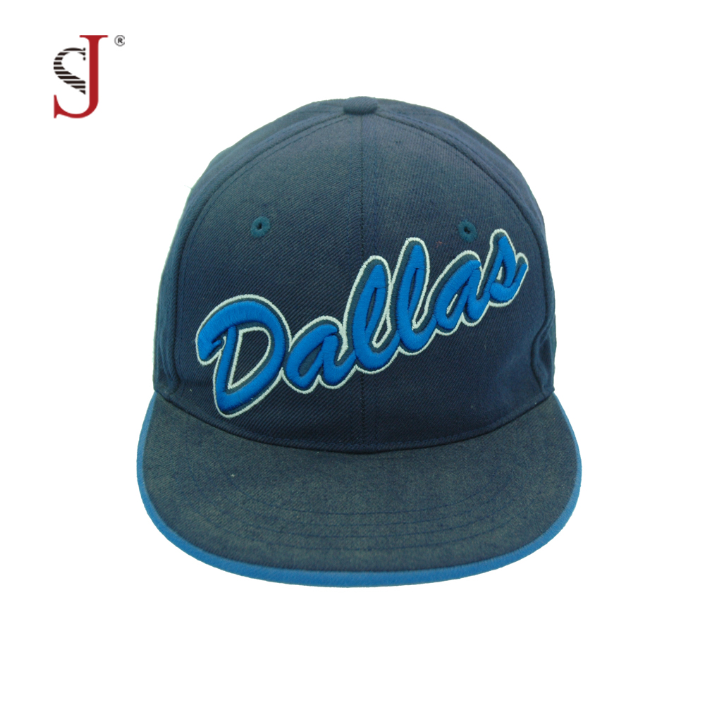 Customized Denim Flat Bill 3d embroidery hats Mens Snapback Hat Flexfit Cap With Your Logo