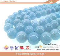 2015 new products natural color double blue aquamarine bead
