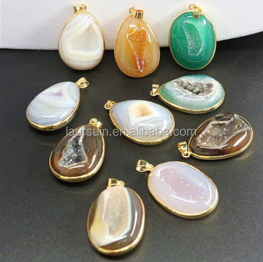 LS-D6495 Exclusive Charm Pattern Natural geode agate Pendant with 24k real gold plated,big size geode agate stone pendant