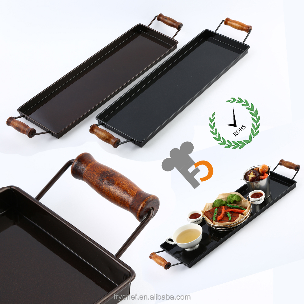 Metal Food Tray Tin With Powder Coating & Wood Handle