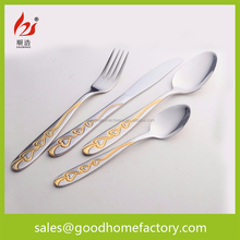 Gold Peach-Heart Printing on Handle Home Essential Cutlery,metal spork flatware Hot selling Cutlery