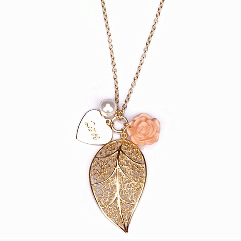fashion Gold plated Leaf necklace simulated pearl rose flower heart necklace pendant long sweather women necklace