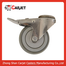 steady stainless steel swivel rubber trolley castor wheel with plastic