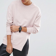 T Shirt Factory Ladies Plain T-shirt Dresses 100%Cotton Crew Neck Long Sleeve Loose T Shirt For Girls