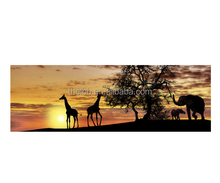 Wall art canvas print animals giraffe and elephant 90x30cm