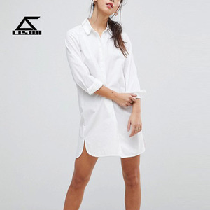 Guangdong factory new design white100% cotton mini button up shirt dress