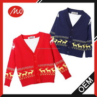 2016 kids unisex winter christmas deer wholesale design knit cardigan sweater