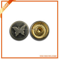 Custom logo embossed metal jeans button studs rivet