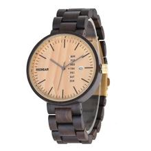 Shenzhen Factory Round Calendar Custom Quartz Wood Watches Wooden Men OEM