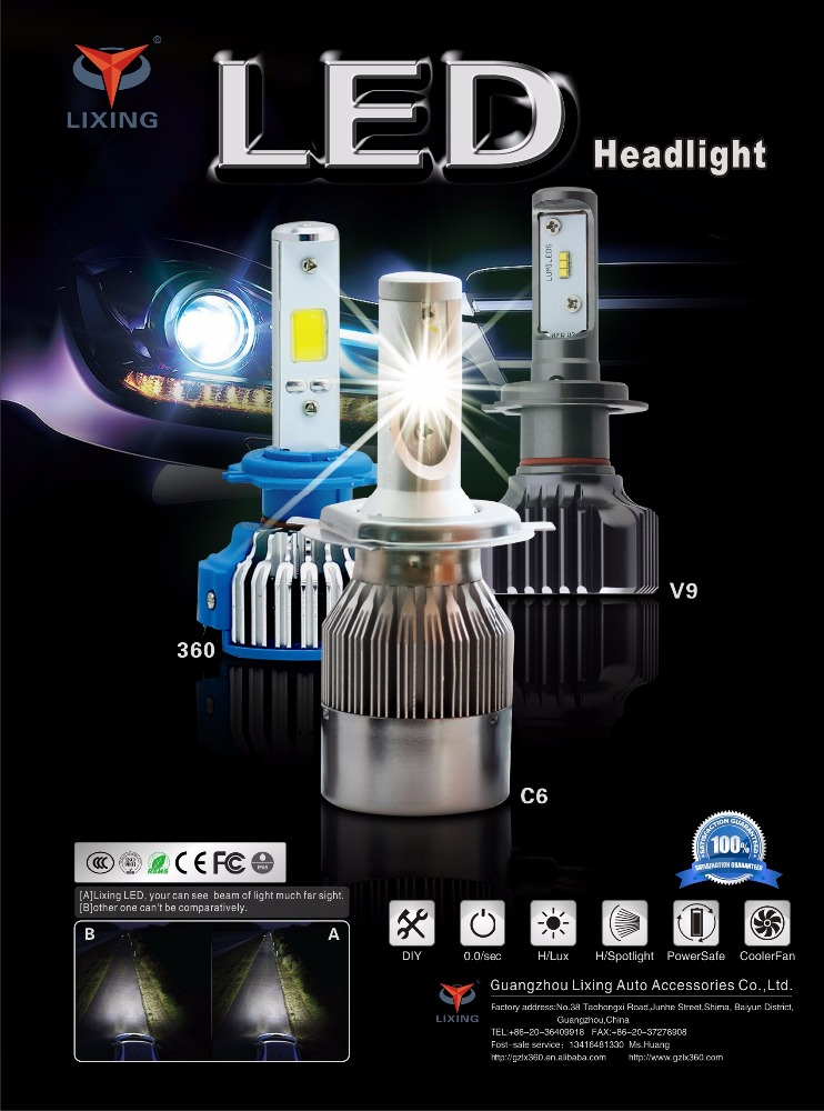 High quality cob chips auto light bulb h1 h3 h4 h7 h8 h11 9005 9006 car head led light bulb 12v for toyota