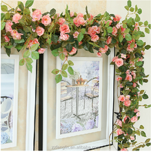 In Stock Artificial Rose Flower Vine Plastic Flower Christmas Vine Decoration