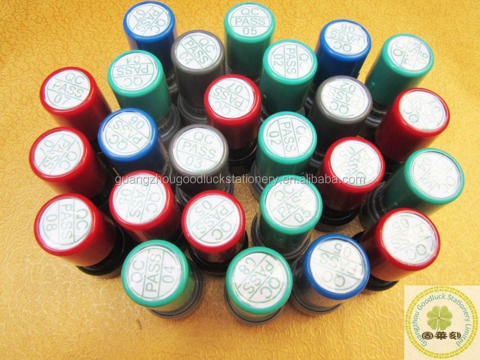 Small Size Flash Round Rubber Inspection Stamper/China Colorful Plastic QC stamp