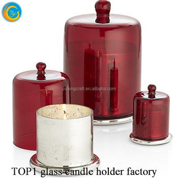 bell glass candle jars red glass cloche wholesale wedding Festival centerpiece