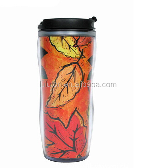 16oz 450ml Double Wall Plastic Coffee Tumbler with Lid and Paper Inserted