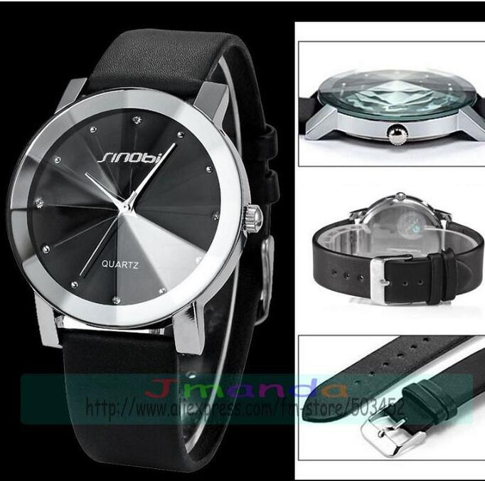 50pcs/lot sinobi 981 exclusive design sinobi leather watch wrap quartz casual watch black strap wristwatch for unisex wholesale
