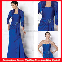 HM0082 New Fashion high quality Handmade ruffled bodice beaded waist with jacket cheap long royal blue mother of the bride dress