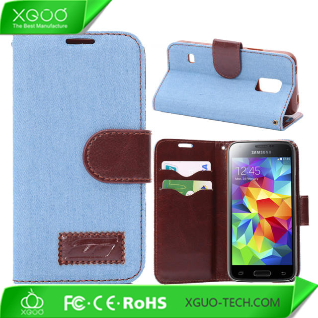 jean flip leather case for samsung galaxy S5 mini