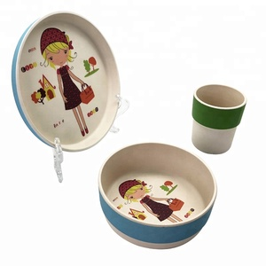 New Style Cartoon Design Biodegradable Eco-Friendly Bamboo Fiber Lunch Box Kids Dinner Set . .