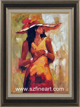 Modern Art oil painting on Canvas beautifulsexy lady with hat oil painting