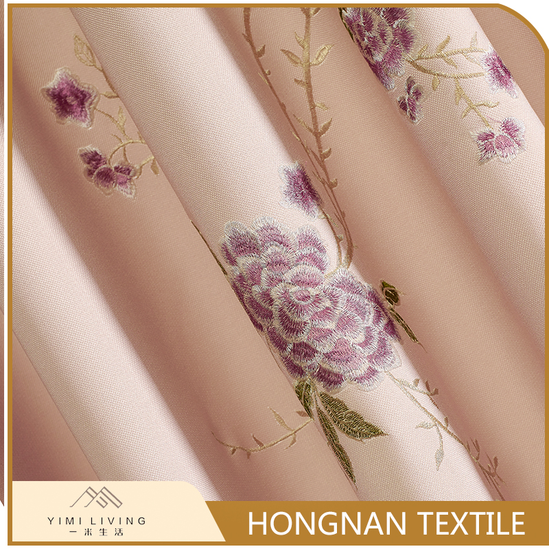 Embroidered best selling woven flower pink drape curtains fabric