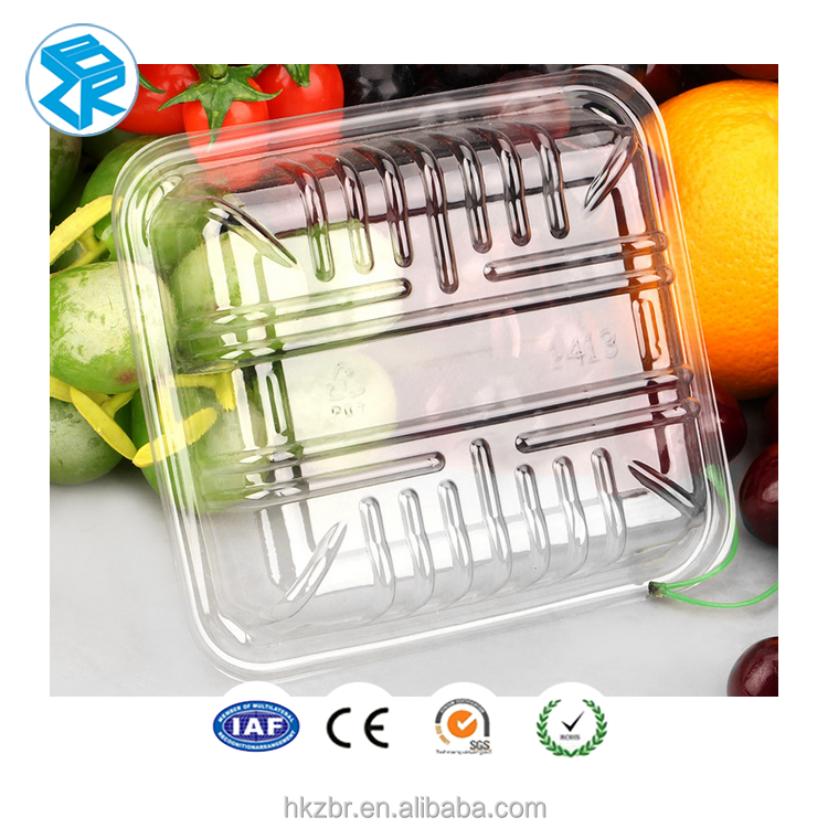 Disposable hot sell blister tray clear food grade vegetable and fruit packaging tray