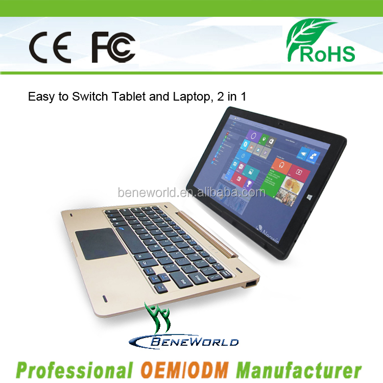 2016 New design for 10.1inch intel tablet pc detachable keyboard