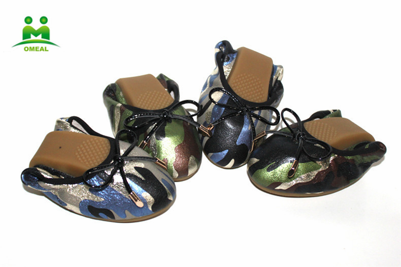Wholesale nice leather camouflage women shoes flat foldable