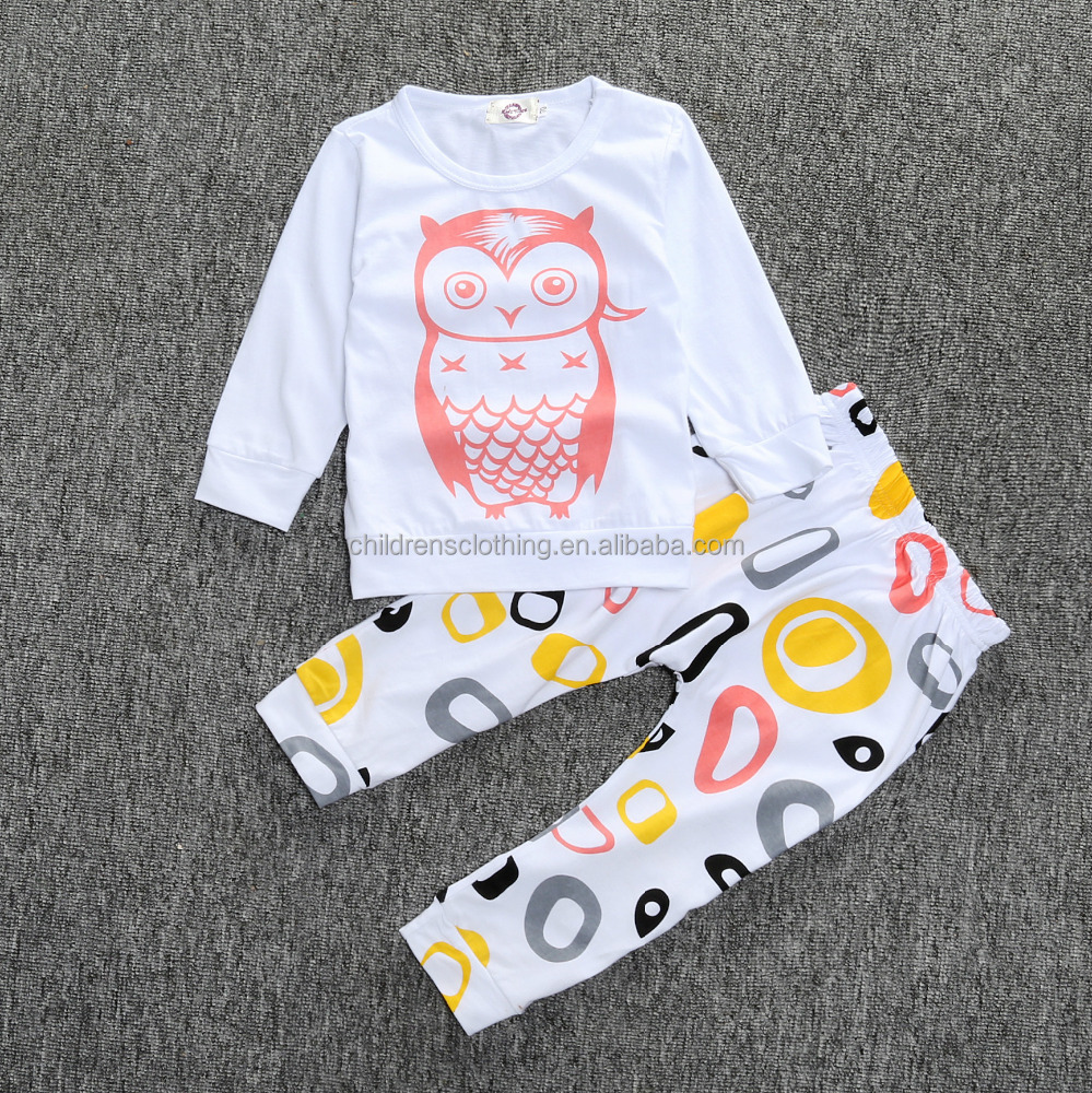 2017 New Design Baby Suit With Cartoon Owl Pattern Sport Suit