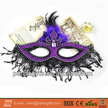 Halloween antique style plastic black lace masquerade purple half face party mask