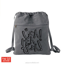 Yiwu high quality canvas grey color custom design printing backpack recycled drawstring bag with front zipper pocket