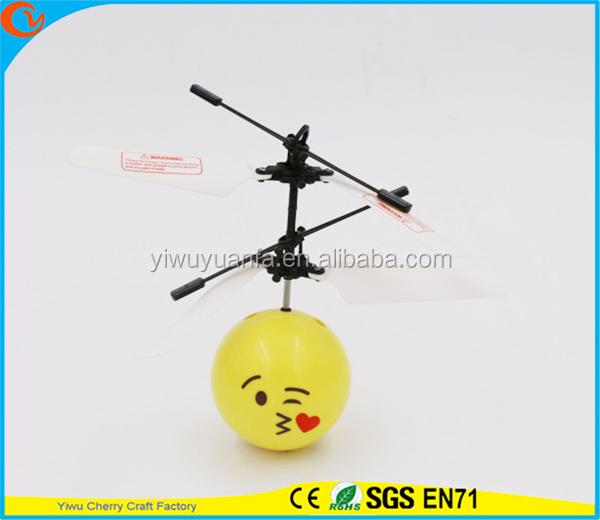 Hot Selling Interesting Mini Flying Ball Toy Kiss Emoji Face Heli Ball Christmas Gift for Kid