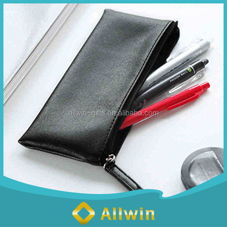 Custom high quality black leather zipper pencil case bag