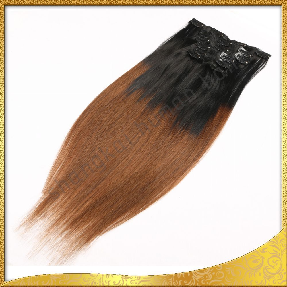 Shangkai top quality Indian remy hair clip in hair extension
