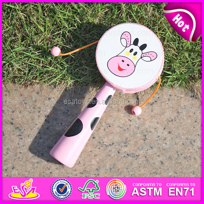 2015 Promotional kids shaking drum toy, educational toy drum, drum with handle W07G006