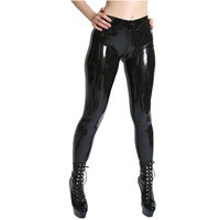 Fashion Women 2015 Sexy Latex Women's Trousers With Socks And Crotch Zipper Fetish Rubber Leggings Plus Size Hot Sale